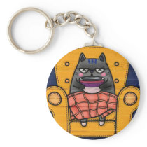 cat printed button keychain