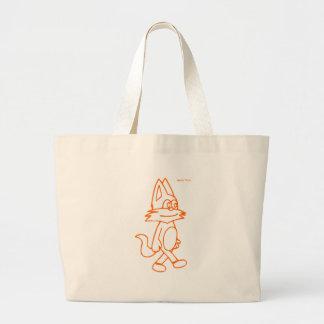 cat pulin contour orange large tote bag