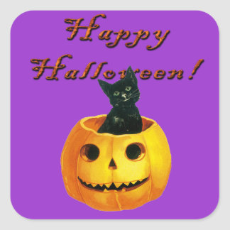 Cat & Pumpkin Face Halloween Vintage Stickers
