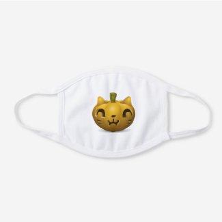 Cat Pumpkin Facemask White Cotton Face Mask
