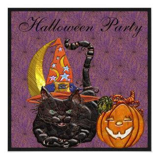 Cat & Pumpkin Faux Jewels Print Party Invites