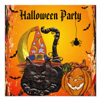 Cat & Pumpkin Faux Jewels Print Party Invites