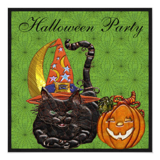 "Cat & Pumpkin Faux Jewels Print Party Invites 5.25"" Square Invitation Card"