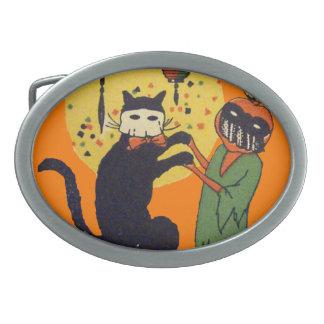 Cat & Pumpkin Masquerade Oval Belt Buckle