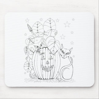 Cat Pumpkin Scene Line Art Design Mouse Pad