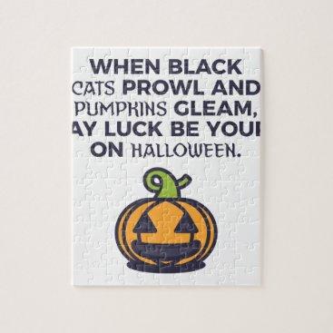 Halloween Themed Cat Pumpkins Halloween Design Jigsaw Puzzle