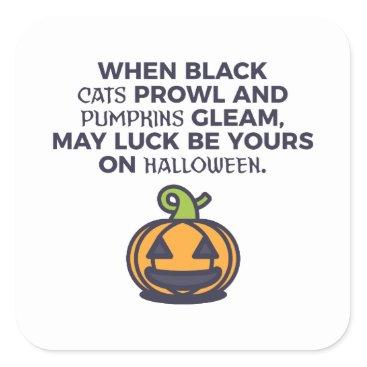 Halloween Themed Cat Pumpkins Halloween Design Square Sticker