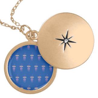 cat purple round locket necklace
