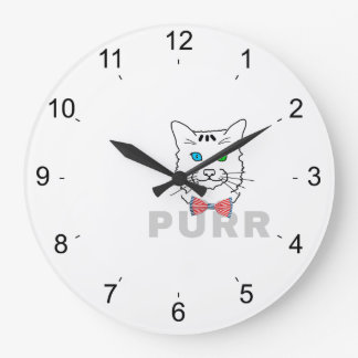 Cat Purr Large Clock