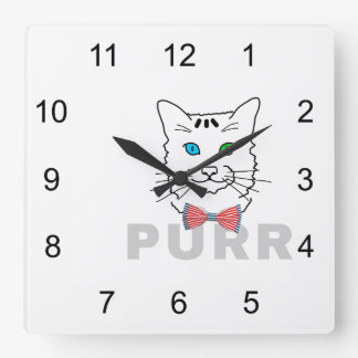 Cat Purr Square Wall Clock