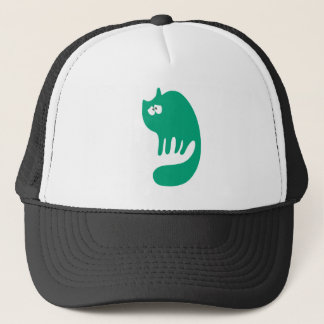 Cat Purring Green Vulnarable Eyes Trucker Hat