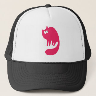 Cat Purring Pink Look Up There Eyes Trucker Hat