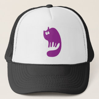 Cat Purring Purple Look Up There Eyes Trucker Hat