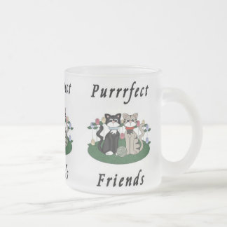 Cat Purrrfect Friends Frosted Glass Coffee Mug