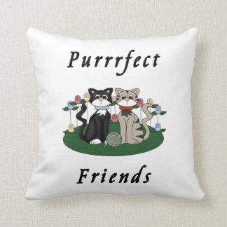 Cat Purrrfect Friends Throw Pillow