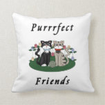 Cat Purrrfect Friends Throw Pillow