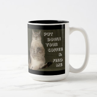 "Cat ""PUT DOWN YOUR COFFEE & FEED ME"" Mug"