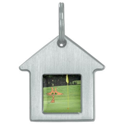 Cat Putts At The Golf Course Pet Name Tag