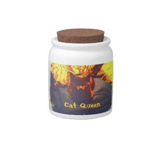 Cat Queen on Blanket digitally enhanced photo Candy Jars