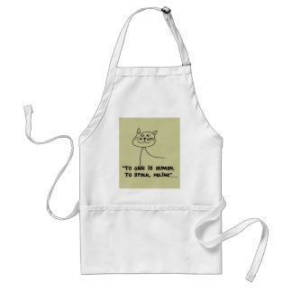 "Cat Quotes Gifts ""To Err is Human, Stalk Feline"" Adult Apron"