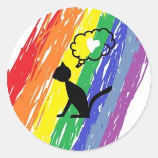 Cat Rainbow Pride Classic Round Sticker