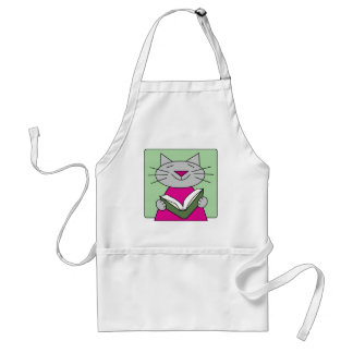 Cat Reading a Book Adult Apron