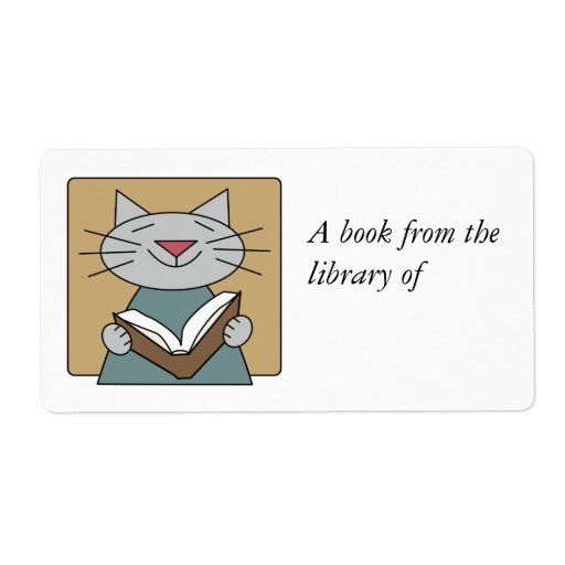Cat Reading a Book Personalized Shipping Label