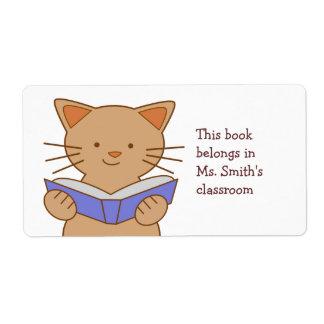 Cat Reading Book Label