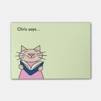 Cat Reading Book Post-it® Notes