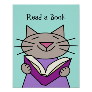 Cat Reading Book Poster