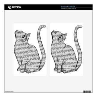 cat reading book sticker decal for kindle fire