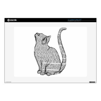 "cat reading book sticker decals for 15"" laptops"