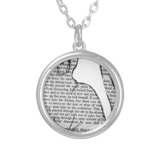 cat reading book sticker silver plated necklace