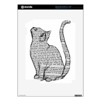 cat reading book sticker skins for iPad 2