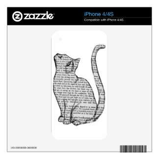 cat reading book sticker skins for the iPhone 4