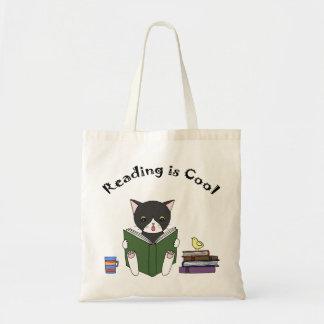 Cat Reading Book Tote Bag Funny Cat Library Bag