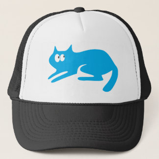 Cat Ready To Pounce Blue Look Up There Eyes Trucker Hat