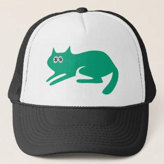 Cat Ready To Pounce Green Cash Eyes Blue Trucker Hat