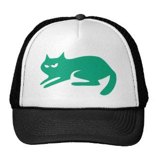 Cat Ready To Pounce Green Dissaproval Eyes Cap