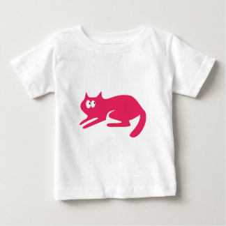 Cat Ready To Pounce Pink Look Up There Eyes Baby T-Shirt