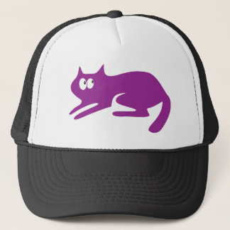 Cat Ready To Pounce Purple Look Up There Eyes Trucker Hat