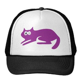 Cat Ready To Pounce Purple Manic Bloodshot Eyes Trucker Hat
