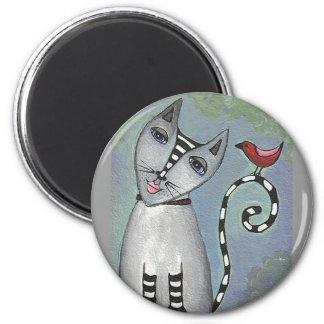 Cat & Red Bird - magnet