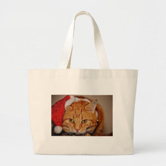 Cat Red Christmas Santa Hat Funny Cute Mackerel Large Tote Bag