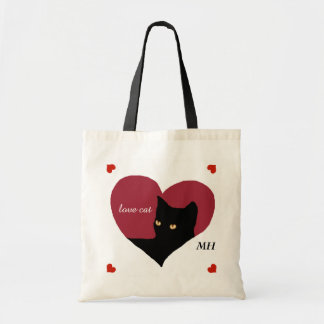 cat red love heart budget tote bag