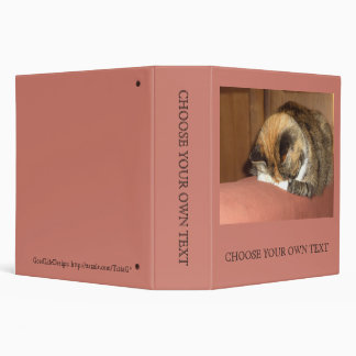Cat 'Red' sleeping on the cough 3 Ring Binder