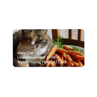 Cat 'Red' with Carrots Address Label