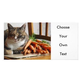 Cat 'Red' with Carrots Customized Photo Card