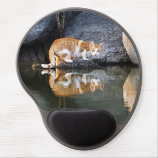 Cat Reflection in Pond Water Photo, ergonomic Gel Mouse Pad