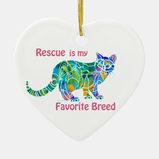 Cat Rescue Ceramic Heart Ornament